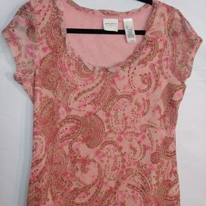 Cute❤ Paisley pink Axcess blouse size large